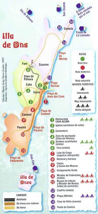 Isla De Ons Mapa.Isla De Ons